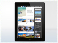 Travel Connection Website: webpagina op een iPad.